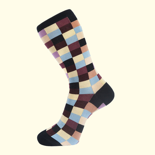 Check Pattern Sock in Navy Blue by Fortis Green