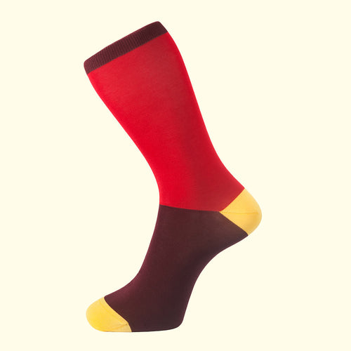 Block Colour Sock in Red by Fortis Green