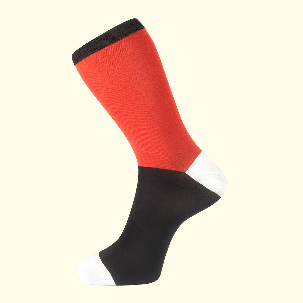 Fortis Green orange block coloured quality sock