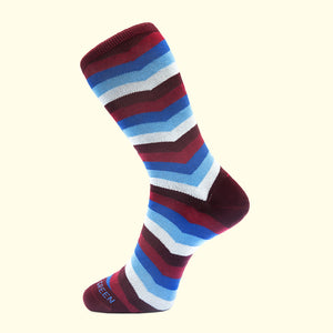 Chevron Stripe Pattern Sock in Burgundy by Fortis Green
