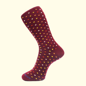 Microdot Pattern Sock in Burgundy by Fortis Green