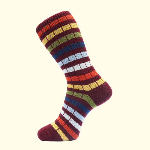 Chunky Knit Stripe Sock in Burgundy by Fortis Green