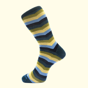 Chevron Stripe Pattern Sock in Green