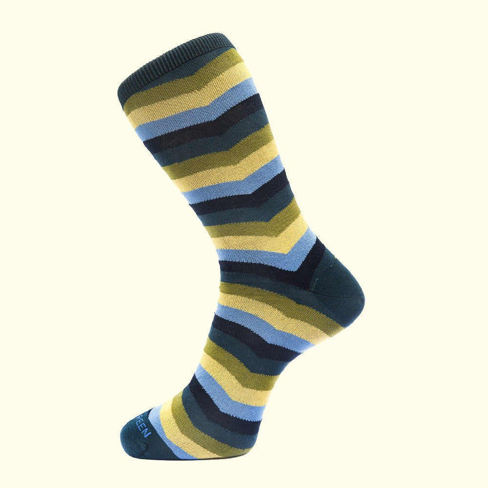 Chevron Stripe Pattern Sock in Green by Fortis Green