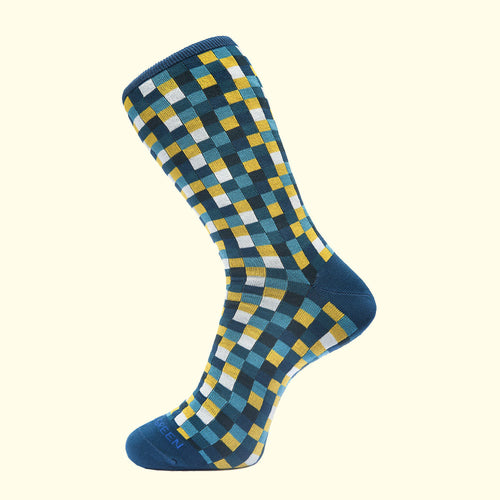 Microcheck Pattern Sock in Teal Blue by Fortis Green