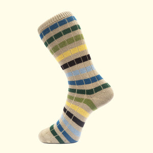 Chunky Knit Stripe Sock in Oatmeal by Fortis Green
