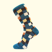 Load image into Gallery viewer, Check Pattern Sock in Teal Blue by Fortis Green