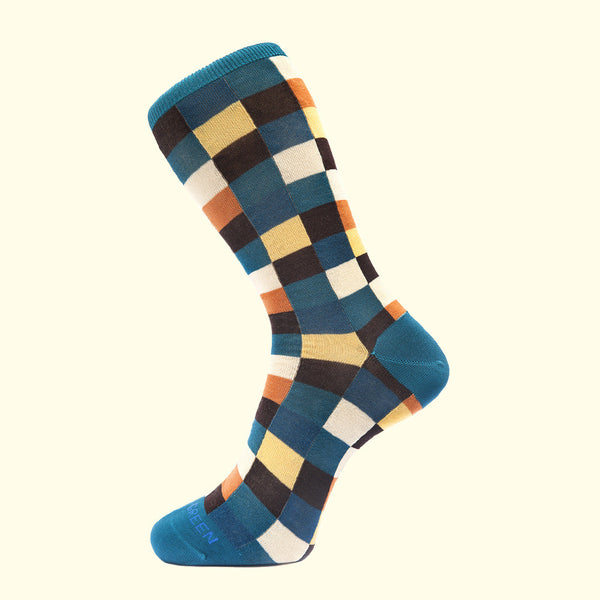 Check Pattern Sock in Teal Blue