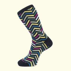 Zig Zag Pattern Sock in Black by Fortis Green