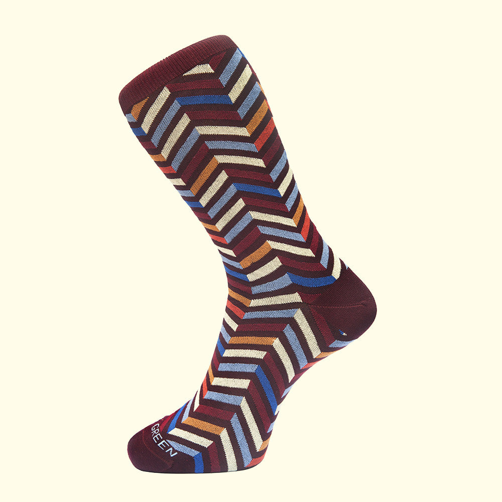 Zig Zag Pattern Sock in Burgundy by Fortis Green