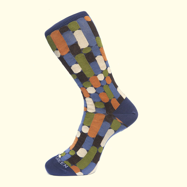 Fortis Green luxury knit mens best socks purple baton pattern