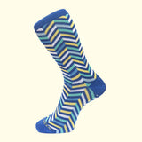 luxury men's colorful socks. Fortis Green Blue zig zag pattern sock