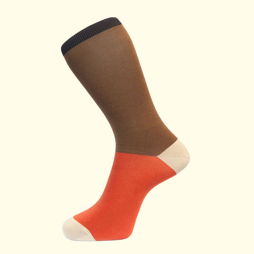 Block Colour Sock in Coffee by Fortis Green
