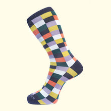 Load image into Gallery viewer, Check Pattern Sock in Purple by Fortis Green