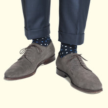 Load image into Gallery viewer, Microdot Pattern Sock in Navy by Fortis Green