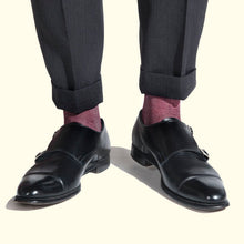 Load image into Gallery viewer, Fine Stripe Pattern Sock in Burgundy by Fortis Green