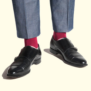 Block Colour Sock in Plum by Fortis Green