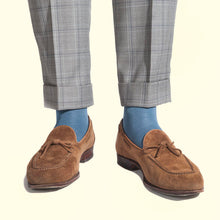 Fine Stripe Pattern Sock in Slate Blue by Fortis Green
