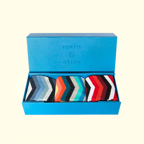 Three Pack Gift Box - Chevron Stripe Pattern by Fortis Green