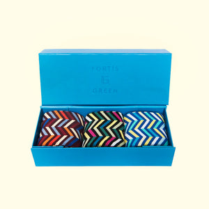 Gift boxes fortis green three pack gift box zig zag pattern negle Gallery