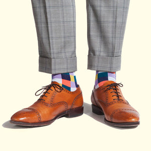 Check Pattern Sock in Purple by Fortis Green