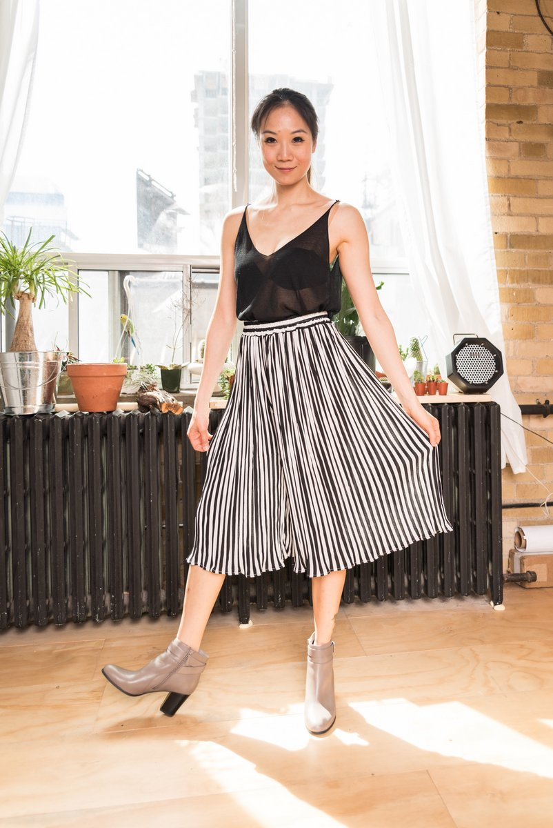 Black & White Striped Pleated Culottes that is lightweight With Elastic Waistband