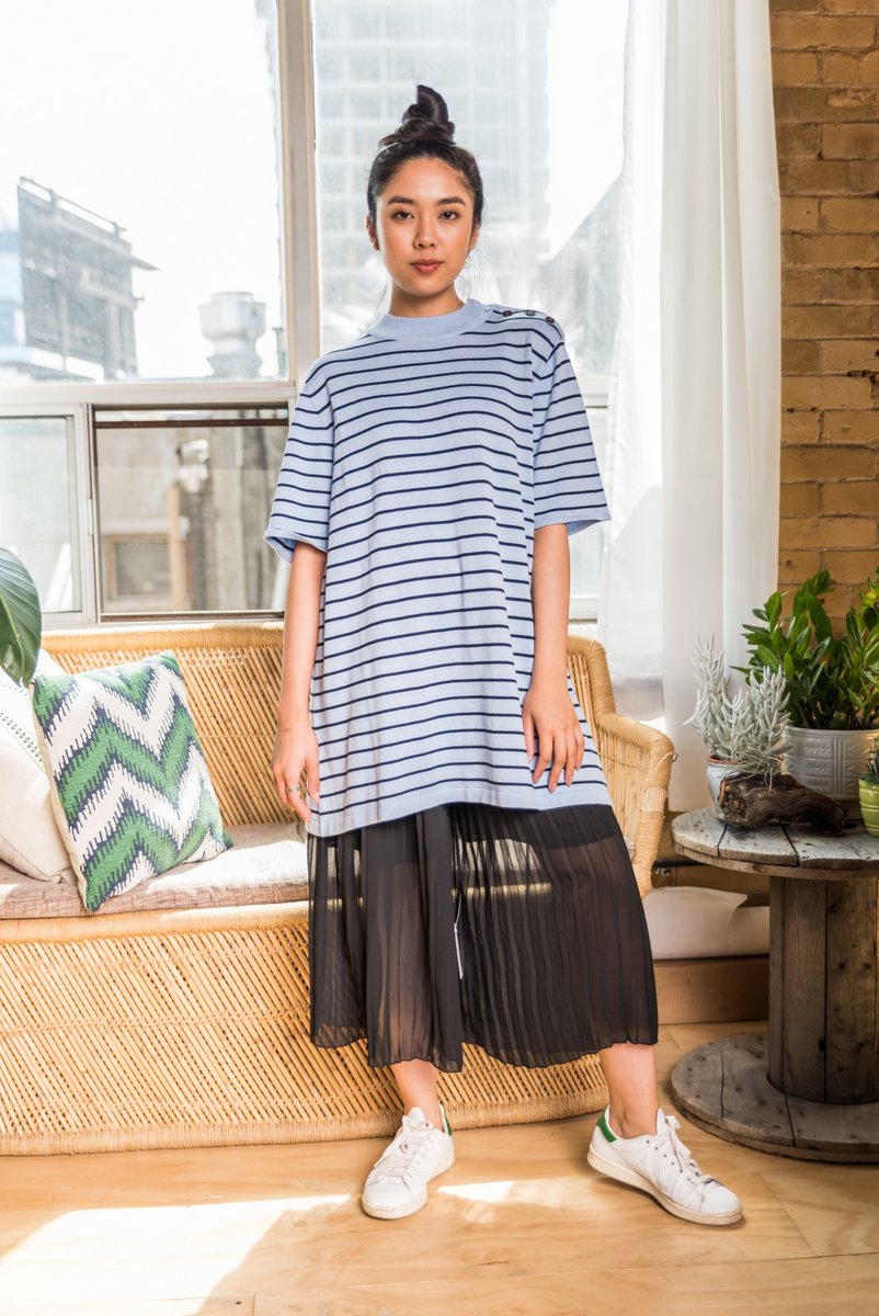 Blue Horizontal Striped Sweater Dress With Round Neck and buttoned shoulder