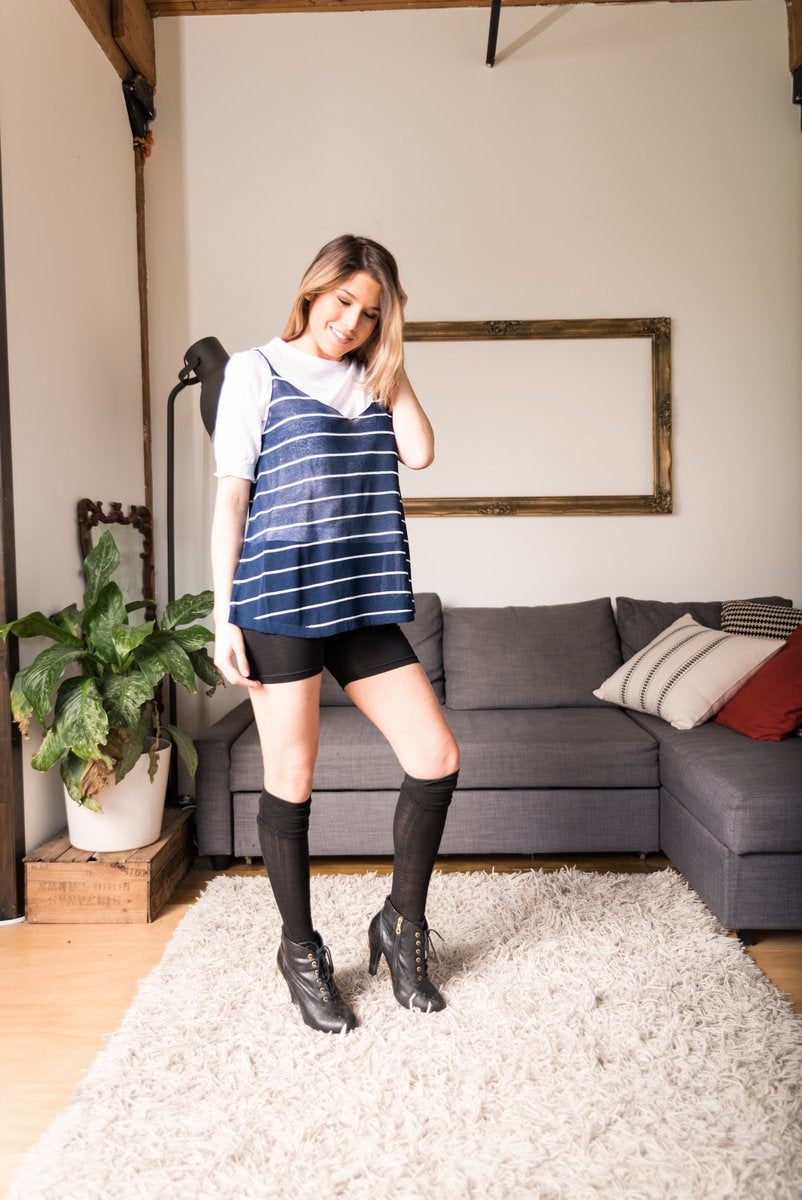 Blue Striped Sheer Top With V-Neckline