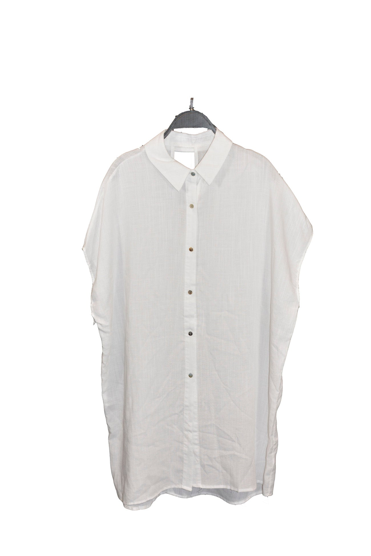 White Oversized Lightweight Shirt Dress with Dolman Sleeves