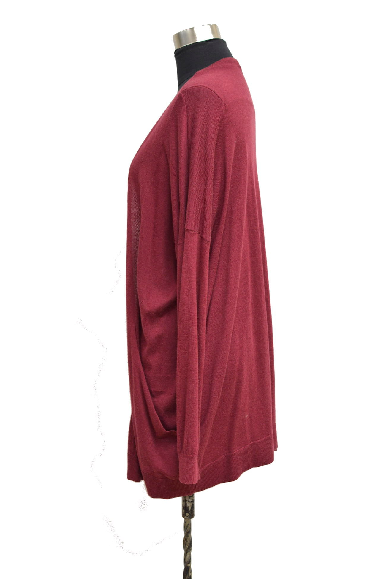 Red Oversized long Cardigan With Dolman Sleeves and Front Pockets