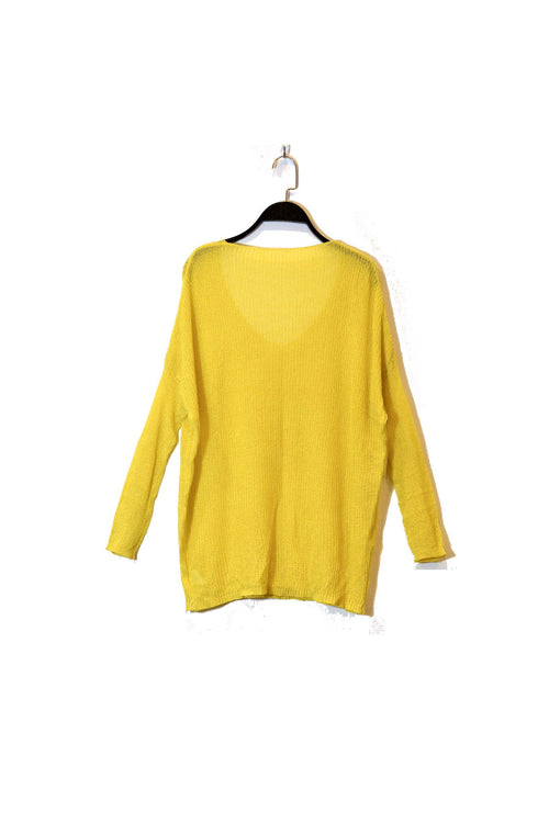 Yellow V-Neck Semi Sheer Knitted Top With Dolman Sleeves and round neckline!