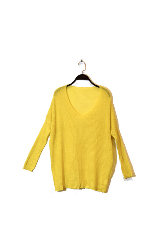 Yellow V-Neck Semi Sheer Knitted Top With Dolman Sleeves and round neckline