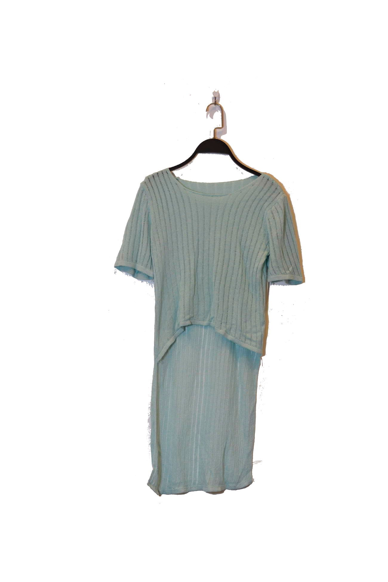 Blue High Low Semi-Sheer Top With Short Sleeves and round neckline