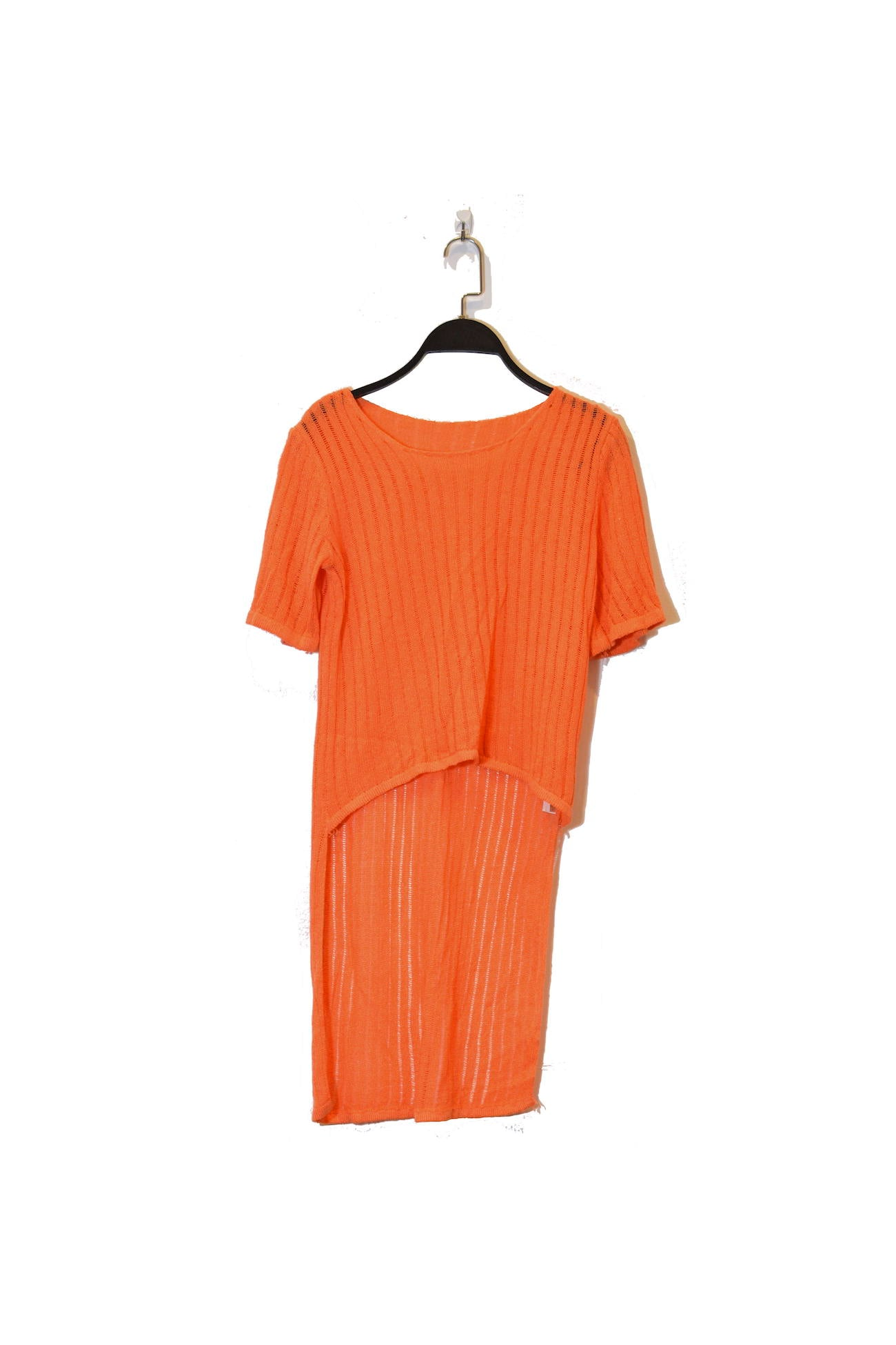 Orange High Low Semi-Sheer Top With Short Sleeves and round neckline
