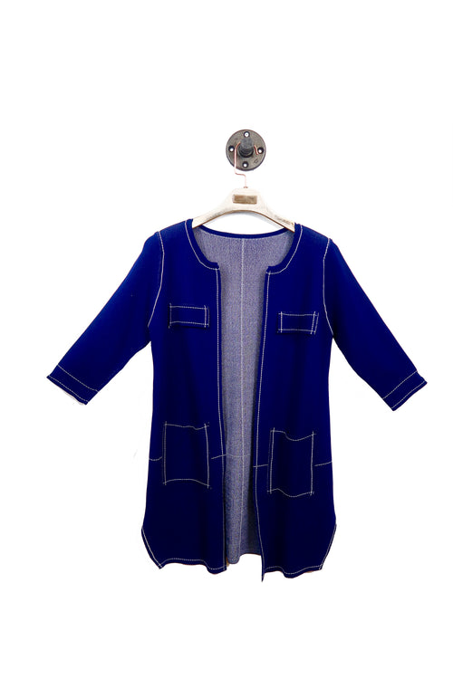 Blue Open Front Cardigan with White Stitches!