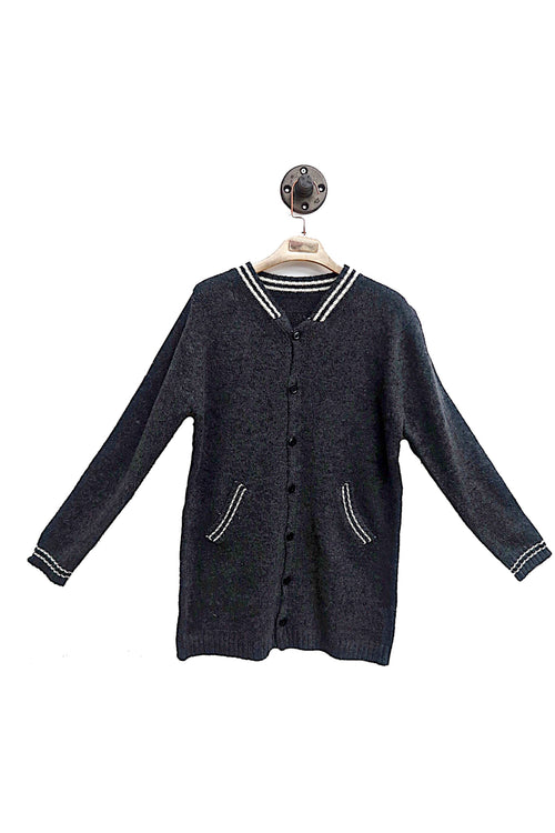 Dark Grey Varsity Cardigan With Side Pockets!