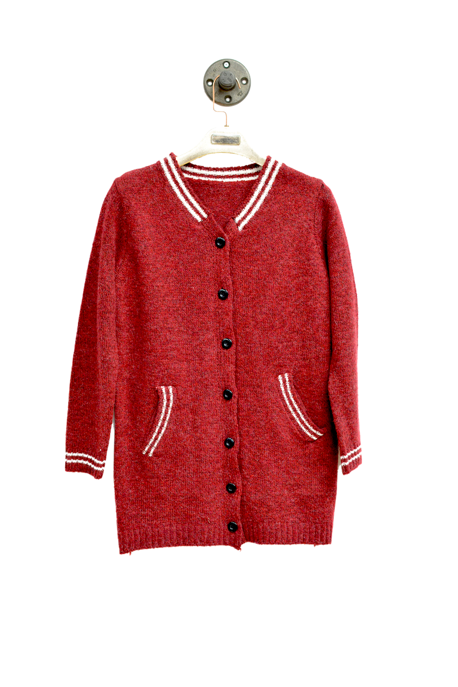 Red Varsity Cardigan With long sleeves and Side Pockets