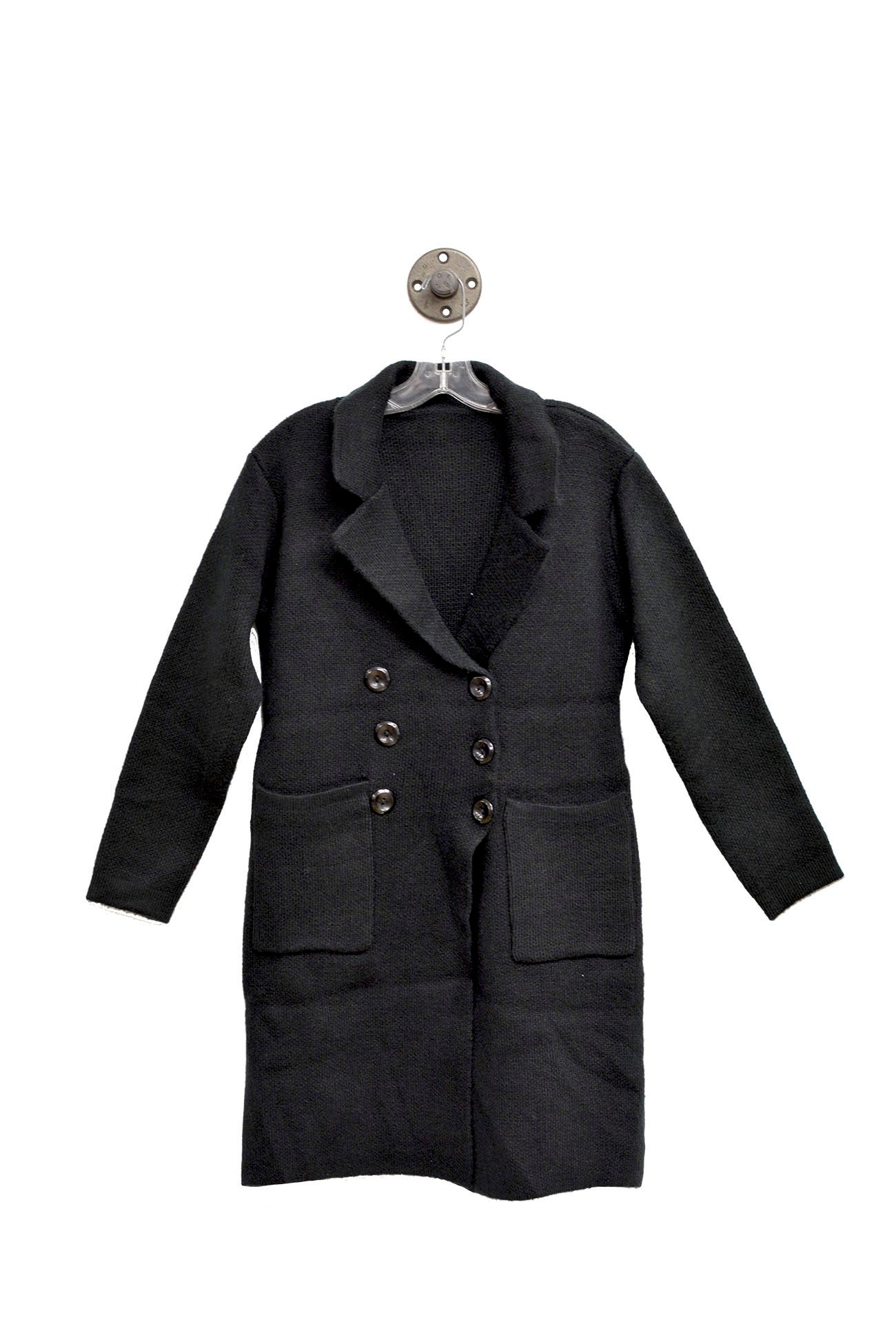 Long Black Trench Coat with Front Pockets and Brown Buttons