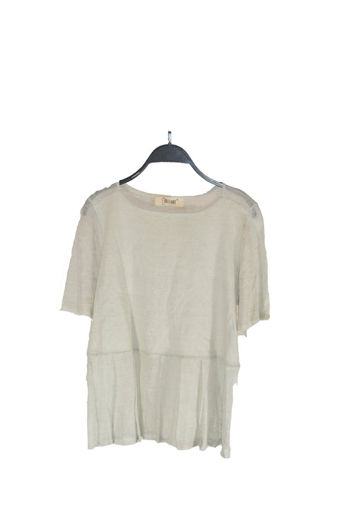 Grey Pleated Bottom Top Sheer Shirt With Round neck and Short Sleeves | SPOOF!
