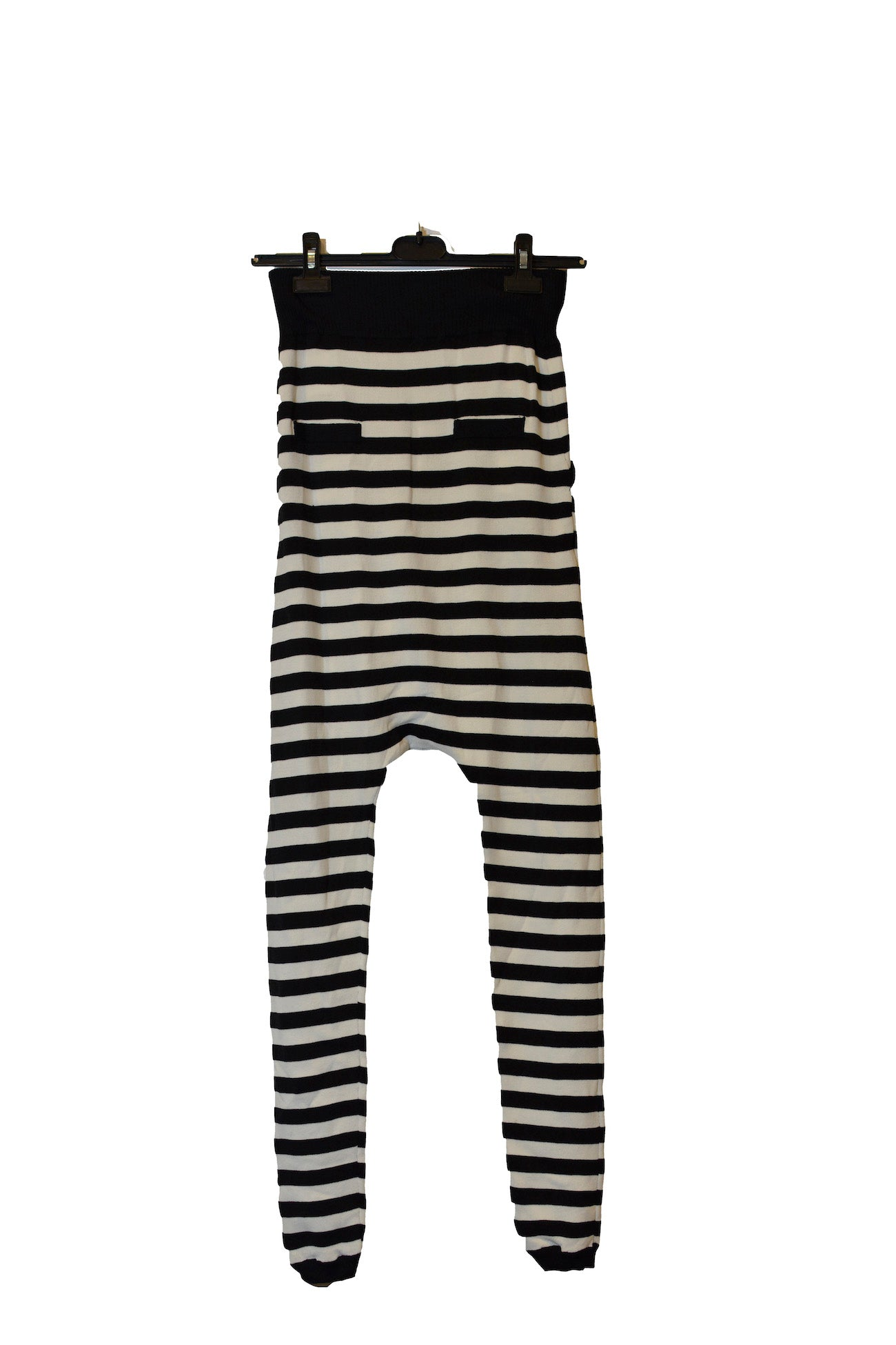High Waisted Black/White Striped Harem Pants With Cuffs