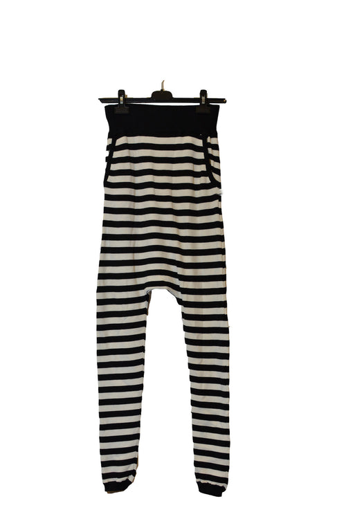 High Waisted Black/White Striped Harem Pants With Cuffs!