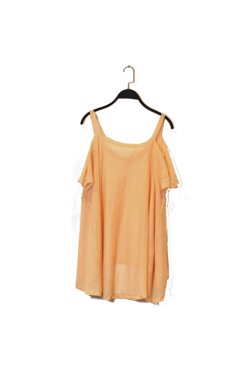 Beige Shoulder Cut-Out Top That Is Semi Sheer With V-Neckline!