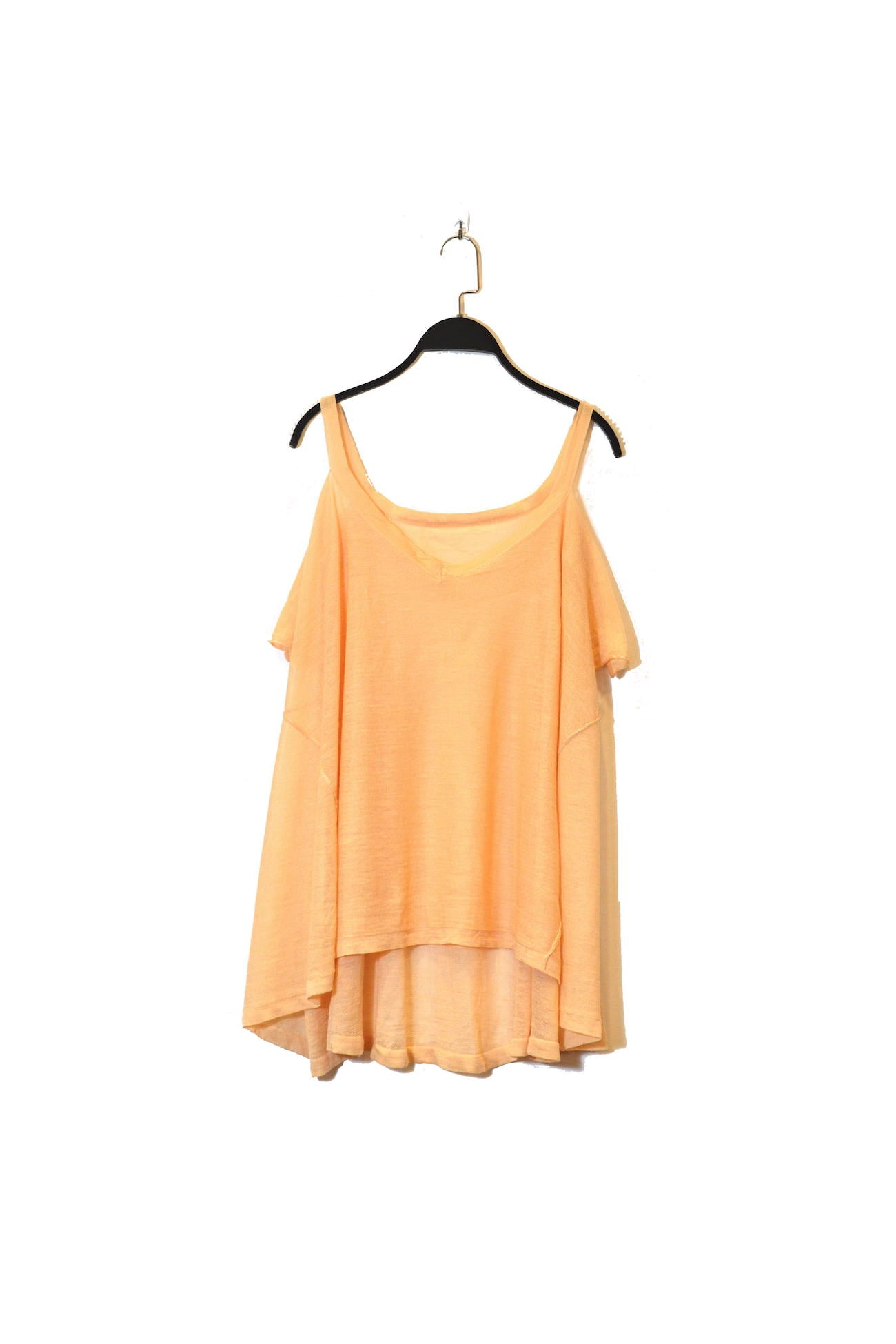 Beige Shoulder Cut-Out Top That Is Semi Sheer With V-Neckline