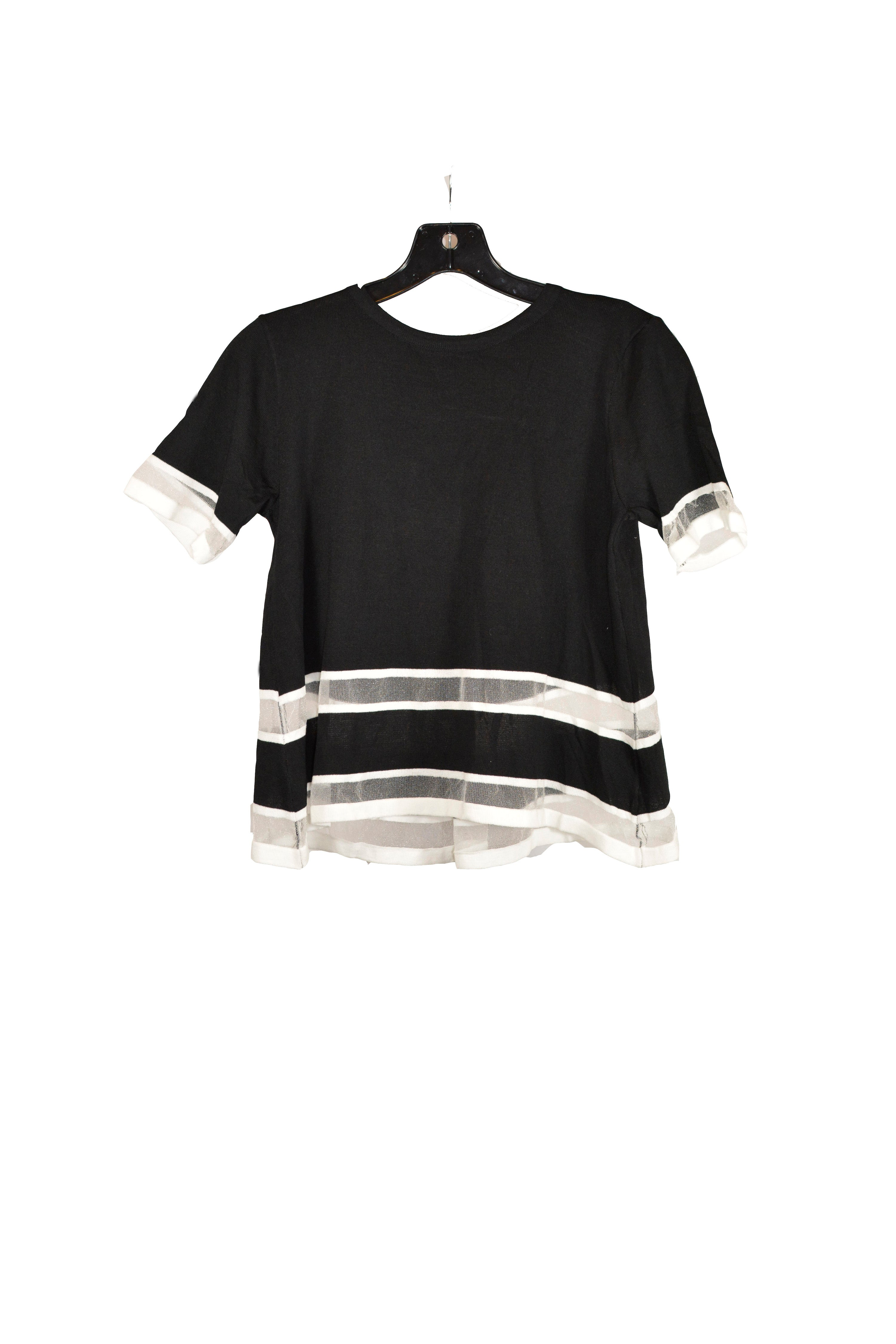 Black Short Sleeves Top With Sheer Panel With Round Neckline