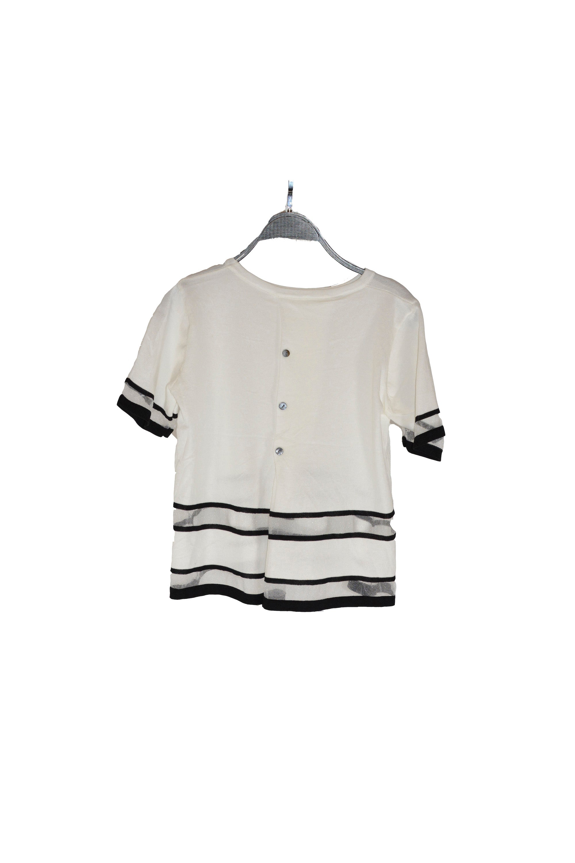 White Short Sleeves Top With Sheer Panel With Round Neckline