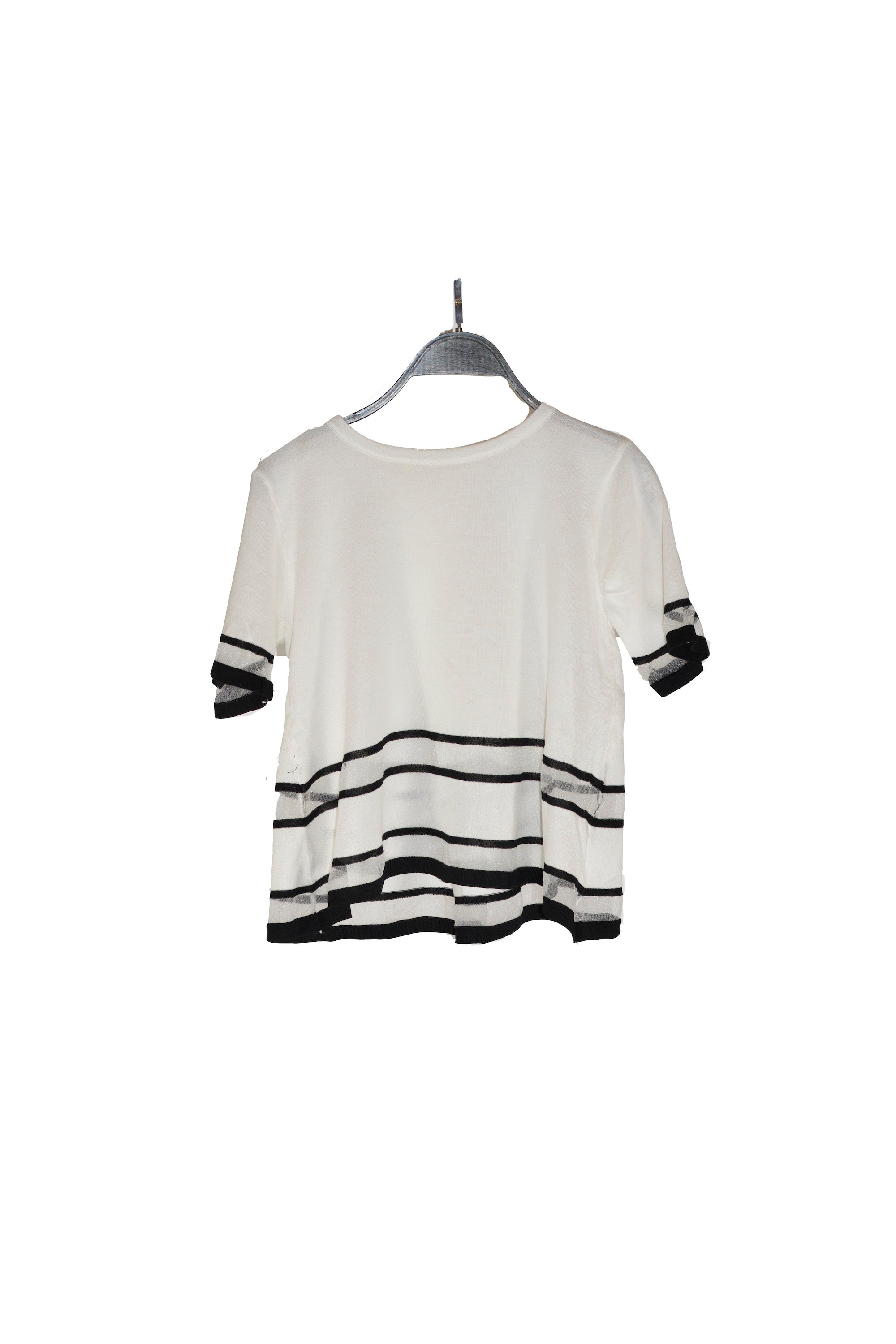 White Short Sleeves Top With Sheer Panel