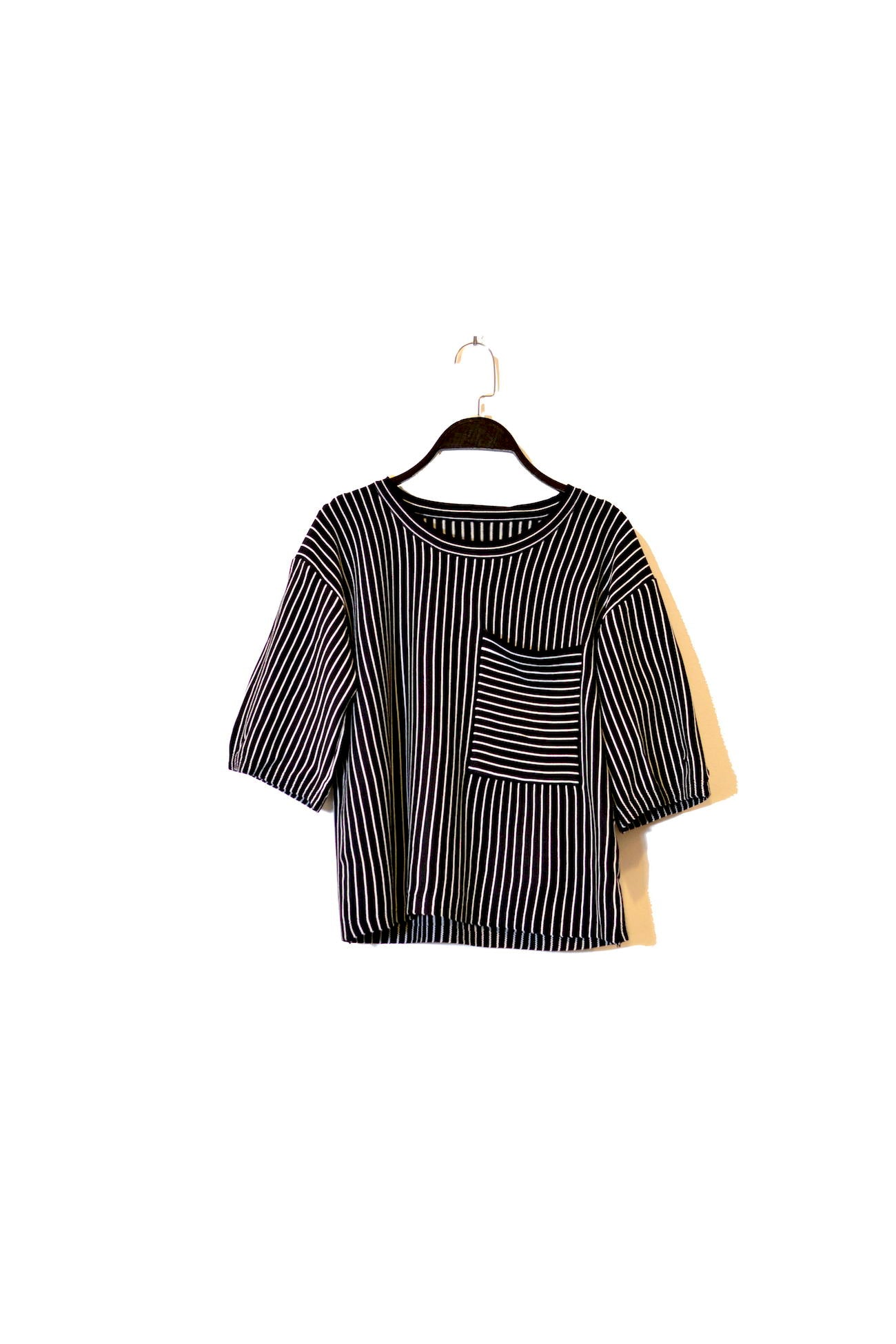 Black Shoulder-Length Sleeve Striped Shirt with round neckline and front chest Pocket