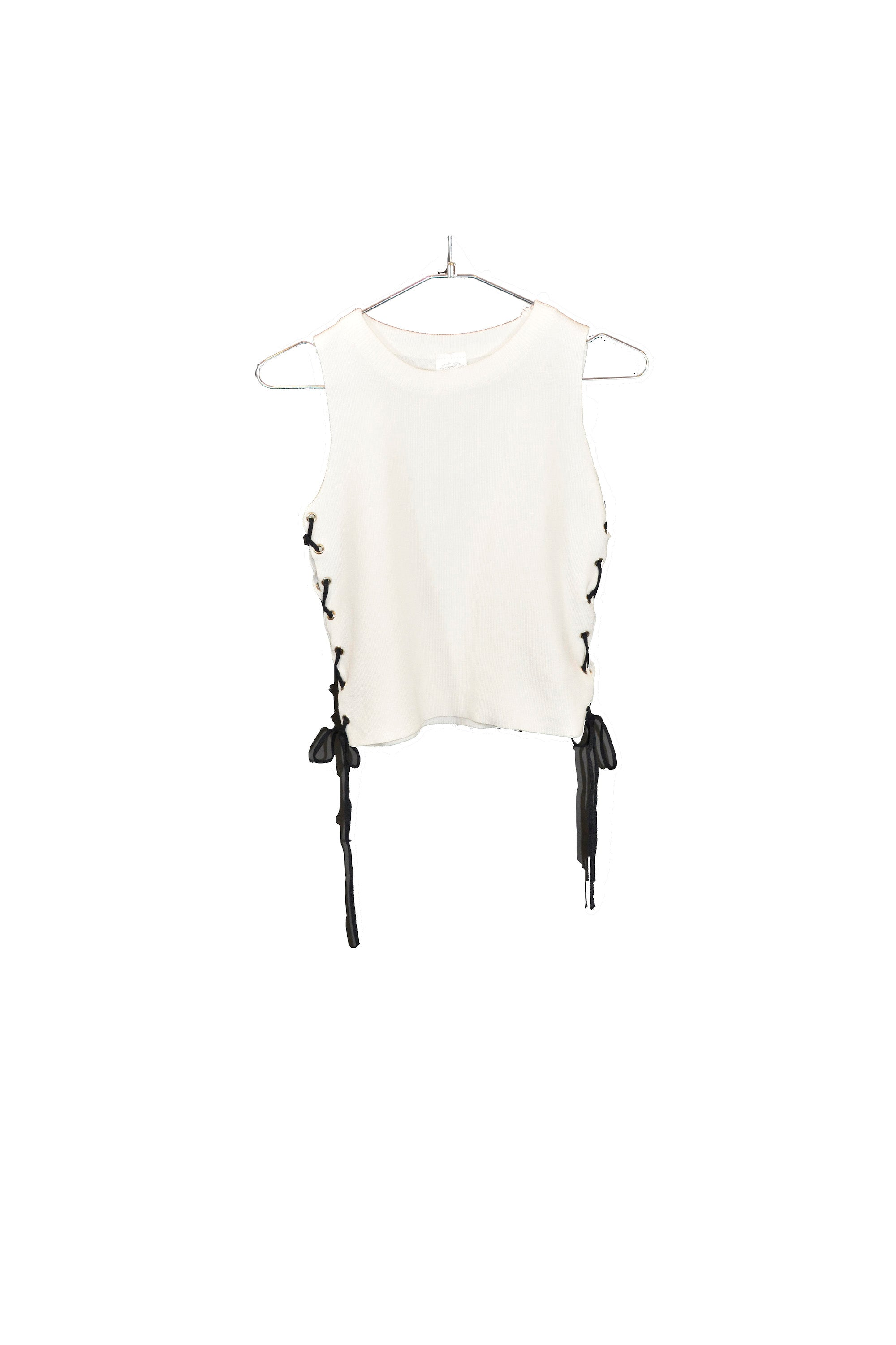 Sleeveless White Side Lace-Up Tank Top With Round Neckline