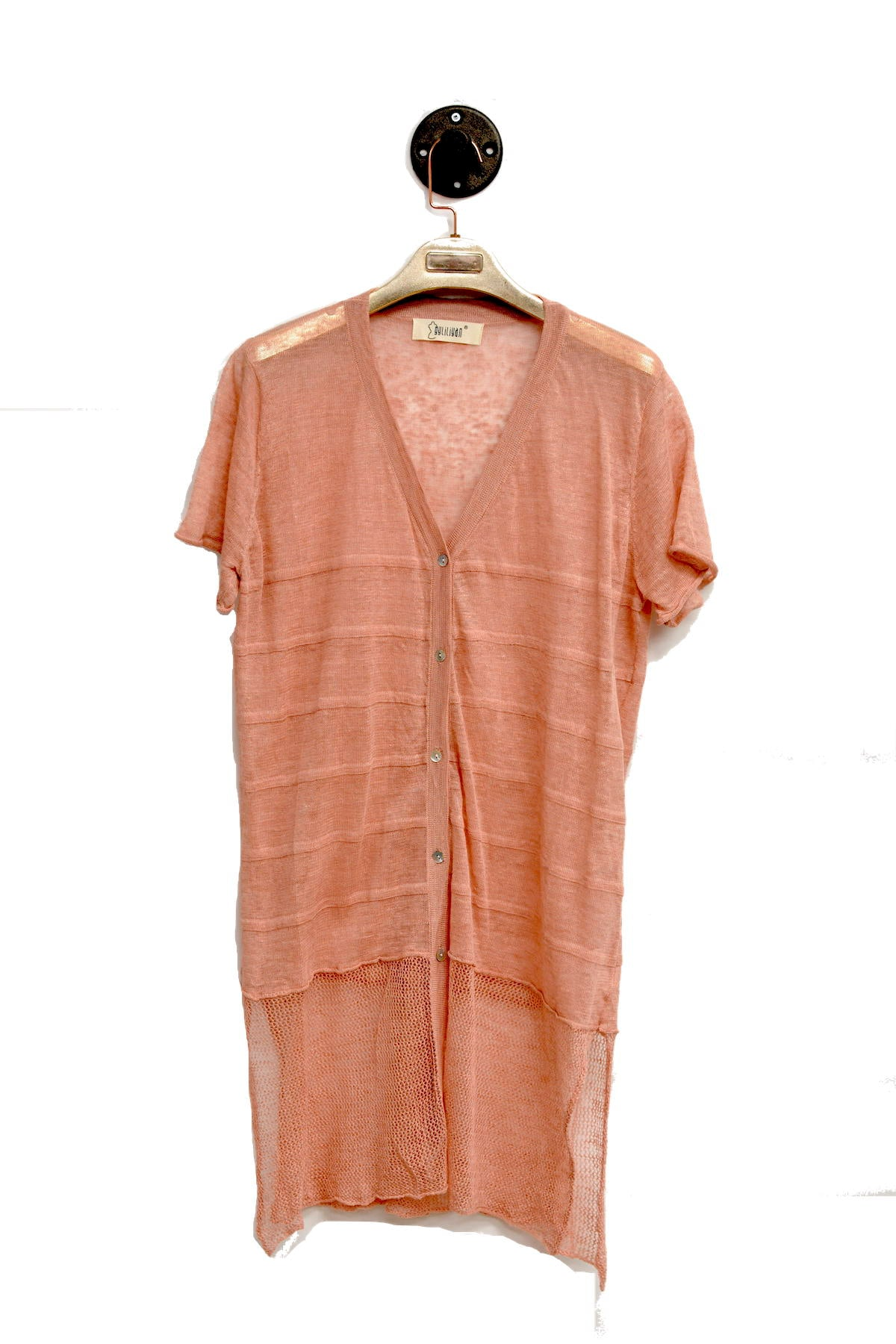Pink Sheer Long Cardigan With Waterfall Neckline and 1/4 length Sleeves