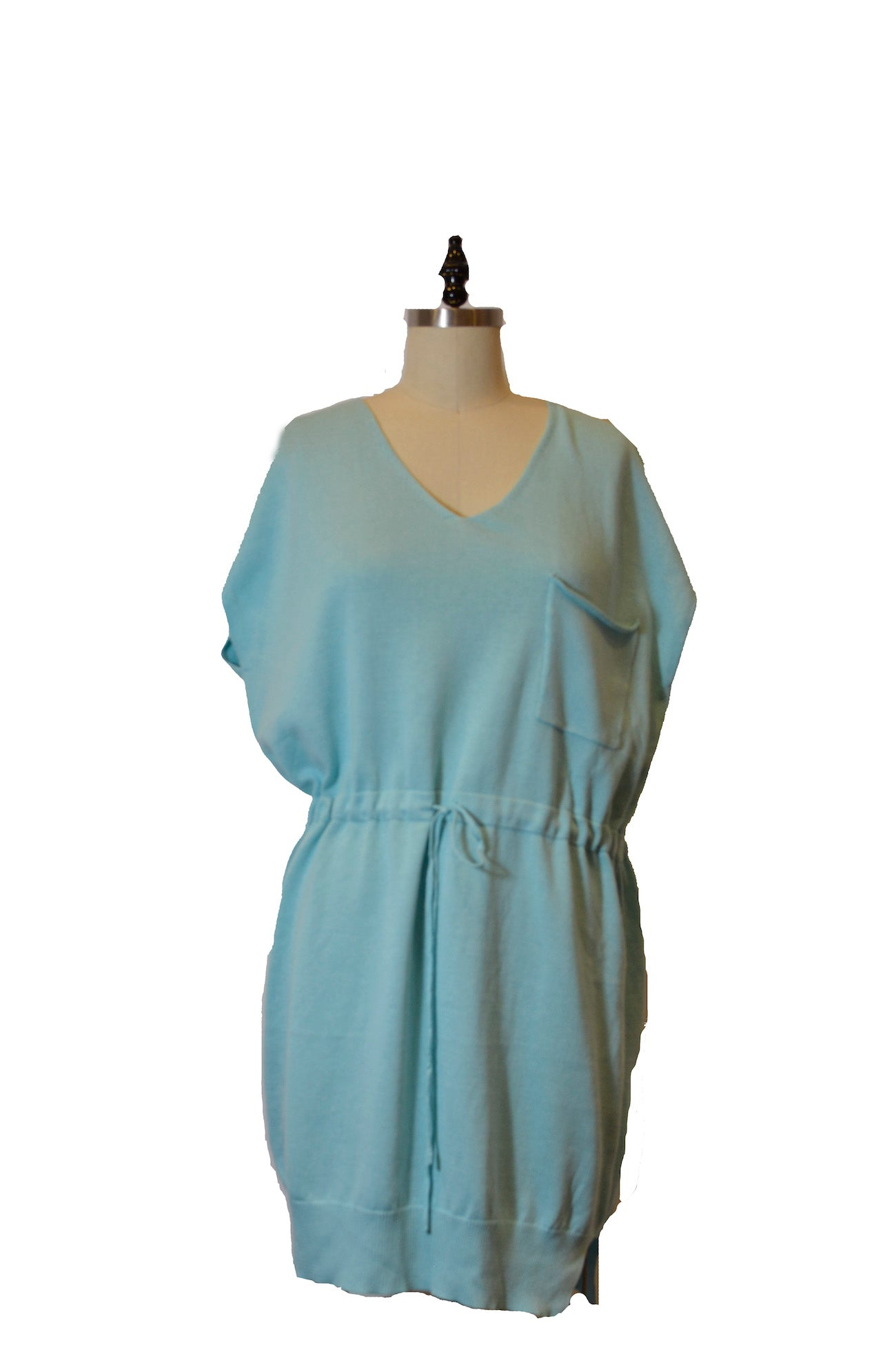 Sleeveless Blue V-Neck Dress With Drawstring At Waistline